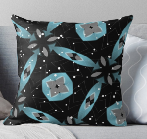 Pillow With Black Background With Stars and Blue Ribbons