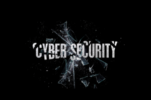 Black banner with large broken letters: Cyber Security