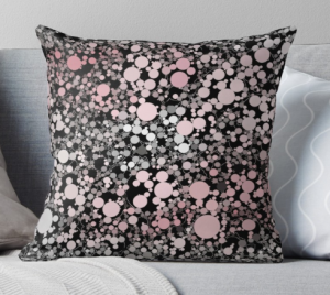 Pink Black Gray Bubbles Throw Pillow