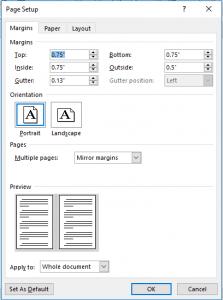 Microsoft Word Margins Setup